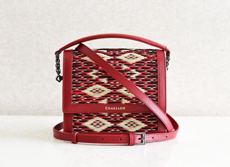 agua mujer de Chaksarn genuino cuero tejido rojo juncia a mano Lormdaow mano de bolso FvSddwRq